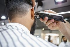 Young Black Man Client Get New Haircut In Barbershop Royalty Free Stock Photography