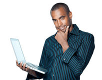 Young black man with laptop Royalty Free Stock Image