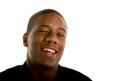 Young Black Man Laughing Eyes Closed Stock Photo