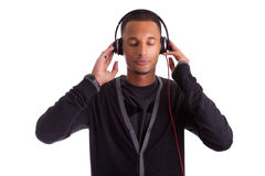 Young black man listening to music Stock Photography