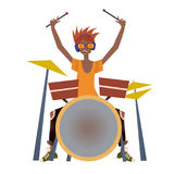 Young black man playing drum set. Drummer, musician. Vector illustration, isolated on white background. Young black man playing drum set. Drummer, percussion Stock Images