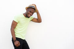 Young black man smiling with hat Stock Photo