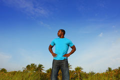 Young Black Man Standing Tall royalty free stock photos