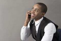 Young Black Man talking on his cellphone Stock Photos