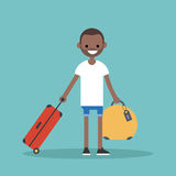 Young black man travelling with his luggage. / flat editable vector illustration Stock Image