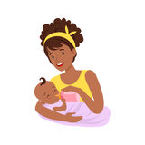 Young black mother breastfeeding her baby with breast milk, colorful vector Illustration Royalty Free Stock Photos