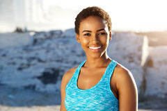 Young black sports woman smiling Stock Image