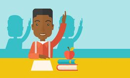 Young black student raising his hand Royalty Free Stock Image