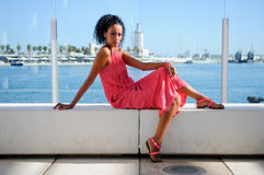 Young black woman, afro hairstyle, in the harbour. Portrait of a young black woman, afro hairstyle, wearing long pink dress, in the harbour Stock Photography