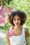 Young black woman with afro hairstyle smiling in urban park. Young black woman with afro hairstyle in urban park. Mixed girl wearing casual clothes between pink Stock Photos