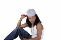 Young Black Woman Baseball Cap White Shirt Royalty Free Stock Photography