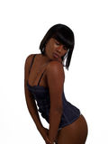 Young black woman in blue bustier lingerie Stock Photos