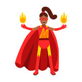 Young black woman in classic red superhero costume with fire in her hands  Illustration. Isolated on a white background Stock Images