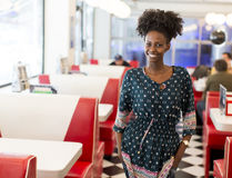 Young black woman in the diner Stock Image
