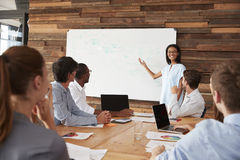 Young black woman giving business presentation at whiteboard. Young black women giving business presentation at whiteboard Royalty Free Stock Images