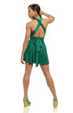 Young black woman in green dress Stock Photos