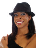 Young black woman in hat with smile Royalty Free Stock Images