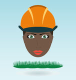 Young black woman in helmet. Grass concept royalty free illustration