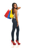 Young Black Woman holding shopping bags Royalty Free Stock Photos