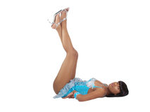 Young black woman with legs in the air Royalty Free Stock Photos