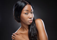 Young black woman with long hair Stock Photo