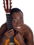 Young black woman portrait with accustical guitar Stock Image