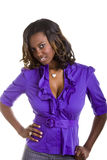Young Black Woman in Purple Hands on Hips royalty free stock image