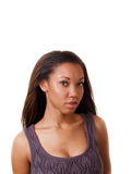 Young black woman with purple knit top Stock Photos