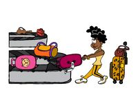 Young black woman retrieving luggage at the airport vector illustration