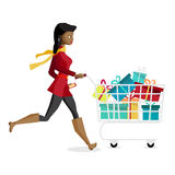 Young black woman running with a trolley on Black Friday Royalty Free Stock Images