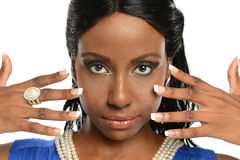 Young black woman's portrait wearing jewelry Stock Photos
