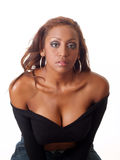 Young black woman serious look bare shoulder Royalty Free Stock Photos