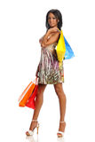 Young Black Woman with shopping bags Royalty Free Stock Images