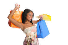 Young Black Woman with shopping bags Royalty Free Stock Photos