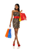 Young Black Woman with shopping bags Stock Image
