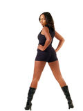 Young black woman in shorts and boots Royalty Free Stock Photo