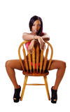 Young Black Woman Sitting Chair Red Bikini Royalty Free Stock Images