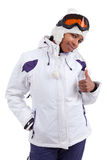 Young black woman in ski clothes making thumbs up Stock Images