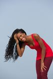 Young black woman smiling outdoors Royalty Free Stock Photography