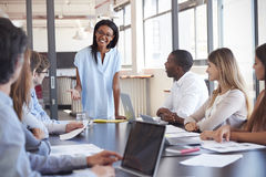 Young black woman stands addressing colleagues at meeting. Young black women stands addressing colleagues at meeting royalty free stock photo