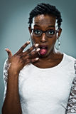 Young Black Woman with Surprise Expression Stock Photography