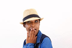 Young black woman with surprised expression on face Stock Photo