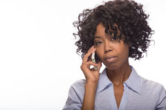 Young black woman talking on cellphone Stock Photos