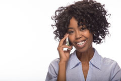 Young black woman talking on cellphone Royalty Free Stock Images