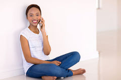 Young black woman talking stock photography