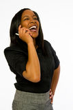 Young black woman talking on telephone. Royalty Free Stock Image