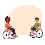 Young black woman and teenaged white boy in wheelchairs Royalty Free Stock Images