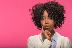 Young black woman thinking face portrait Royalty Free Stock Photography