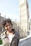 Woman on Westminster Bridge. Royalty Free Stock Photo