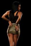 Young Black Woman wearing a golden skirt Stock Photos
